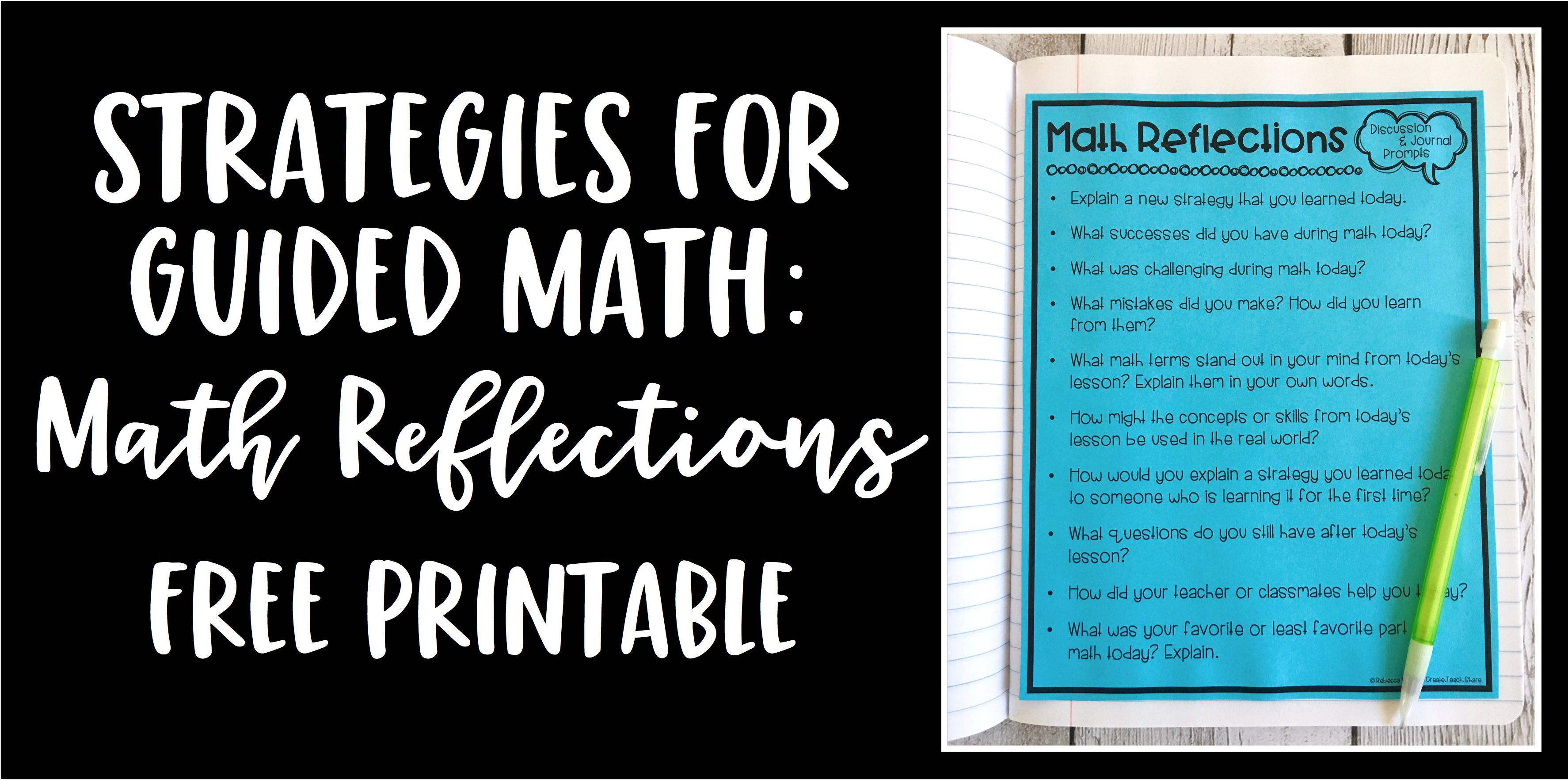 Smashing Strategies for Guided Math: Daily Reflections